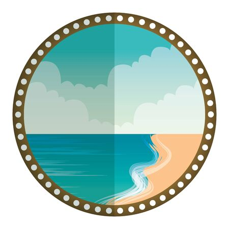 circular frame with summer beach seascape vector illustration design