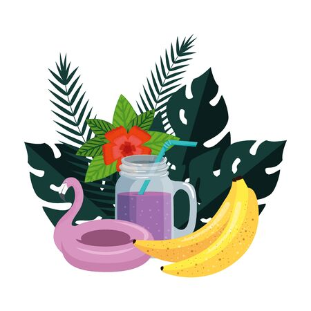 summer leafs plants with flemish float and cocktail vector illustration design Ilustracja