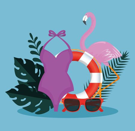 tropical flamish with float and sunglasses with swimsuit and leaves to summer time vector illustration Illusztráció