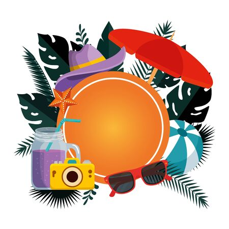 summer circular frame with leafs and umbrella vector illustration design