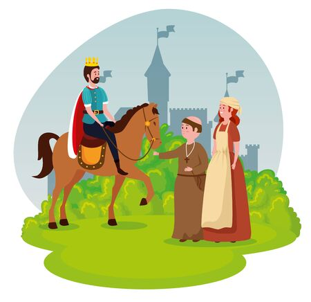 king riding horse with monk and woman mediaval peasant to tale character, vector illustration