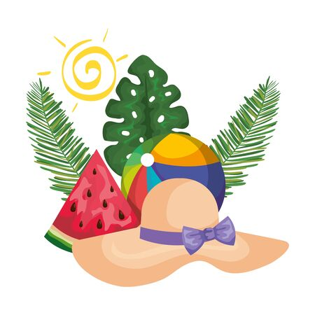 summer hat straw with palms and watermelon vector illustration design