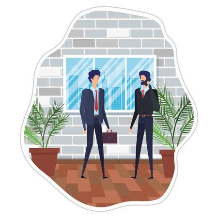 businessmen using smartphone in the workplace vector illustration design
