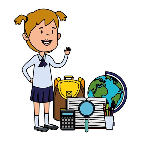 happy student girl with schoolbag and world map vector illustration design