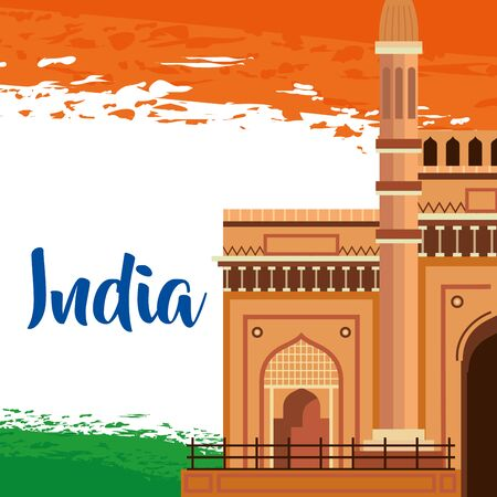 india traditional flag with architecture and holiday to independence day vector illustration 일러스트