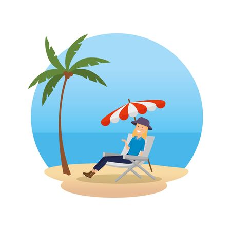 tourist woman relaxing in chair character vector illustration design