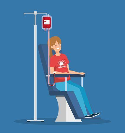 fille volontaire avec don de sang pour aider à l'illustration vectorielle