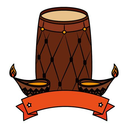 indian drum with candles ornamental icons vector illustration design