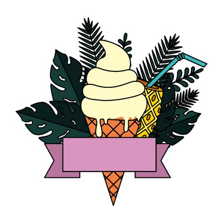 summer frame with tropical leafs and ice cream vector illustration design Ilustracja
