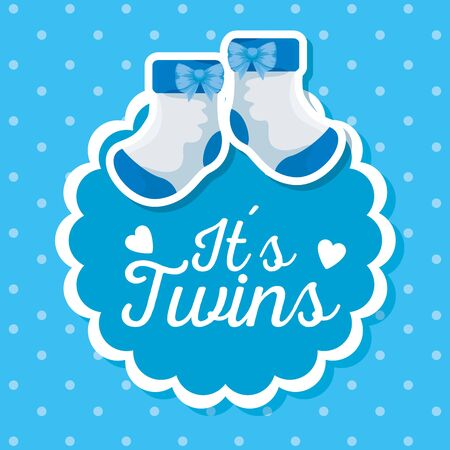 label celebration with socks decoration and message to baby shower vector illustration