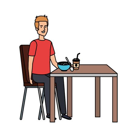 young man eating in table vector illustration design