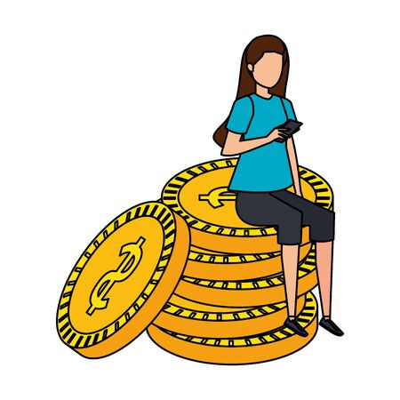 young woman seated in coins cash money dollars vector illustration design Zdjęcie Seryjne - 129824905