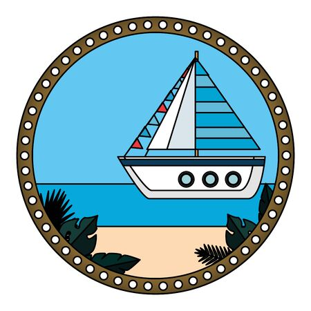 circular frame with summer beach and sailboat vector illustration design Stock Illustratie
