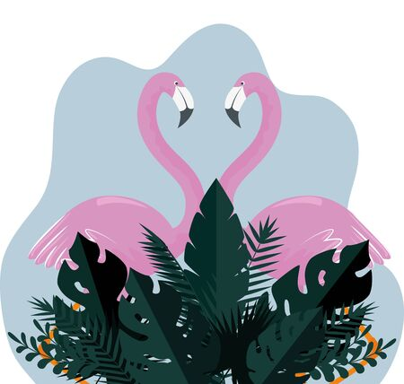 tropical flamingos with exotic leaves plants to summer holiday vector illustration