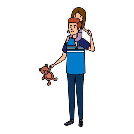 father with daughter characters vector illustration design Illusztráció