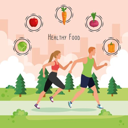 woman and man running with vegetables and fruits to healthy food, vector illustration Ilustração