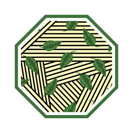 rhombus in straw with leafs vector illustration design Illusztráció