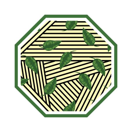 rhombus in straw with leafs vector illustration design Illustration