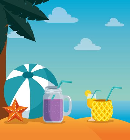 palm tree with ball and smoothie beverage with starfish to summer time vector illustration
