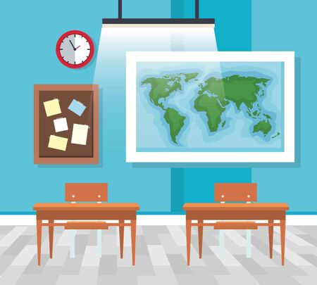 classroom with global map and note board with desks to back to school vector illustration