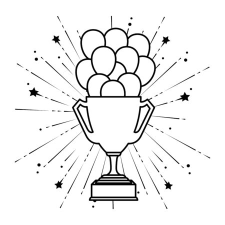 trophy cup with balloons helium floating vector illustration design Иллюстрация