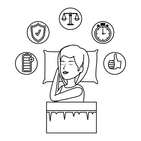 beautiful woman slepping with set icons vector illustration design