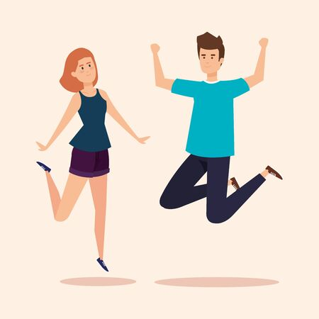 girl and boy jumping with casual clothes vector illustration Illustration