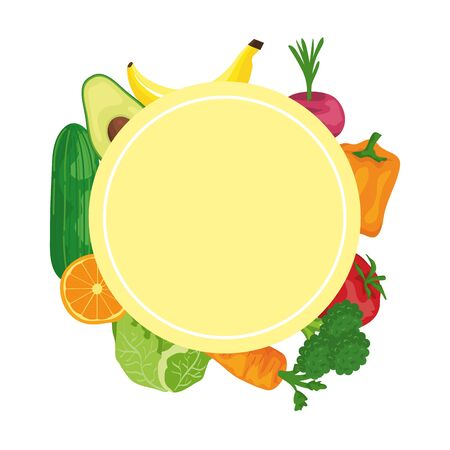 fresh vegetables and fruits around healthy food vector illustration design