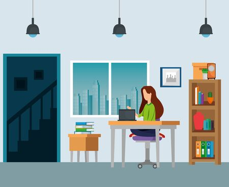 businesswoman sitting with laptop and books data in the business office, vector illustration