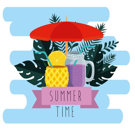 umbrella with smoothie beverage and leaves plants to summer time vector illustration