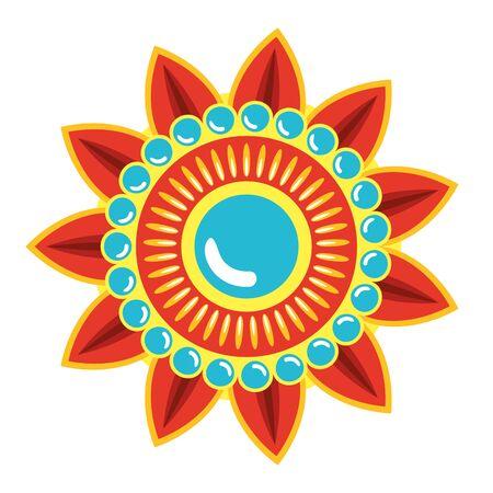 Mandala decorativa estilo boho étnico, diseño de ilustraciones vectoriales