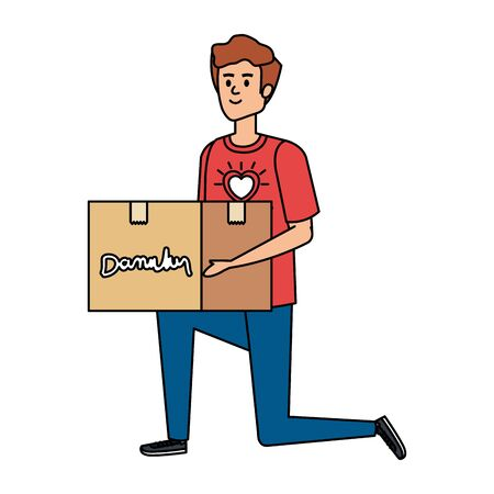 young man volunteer lifting donations box vector illustration design Vetores