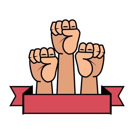 Manos arriba puños iconos diseño ilustración vectorial