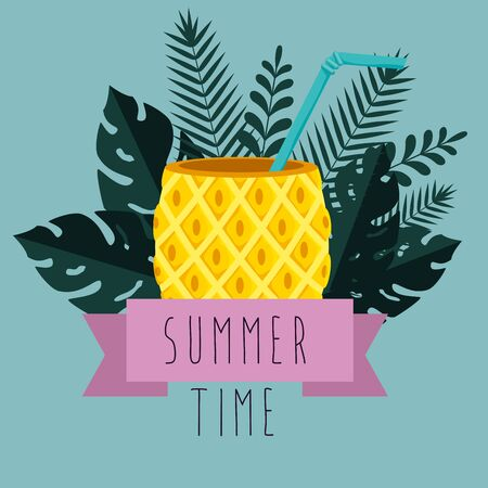 pineapple beverage with branches leaves plants to summer time vector illustration Illusztráció