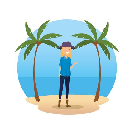 tourist woman with hat character vector illustration design Ilustrace