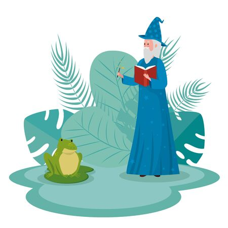 old man wizard with magic wand and frog to tale character, vector illustration