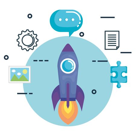 rocket with business marketing vector illustration design Иллюстрация