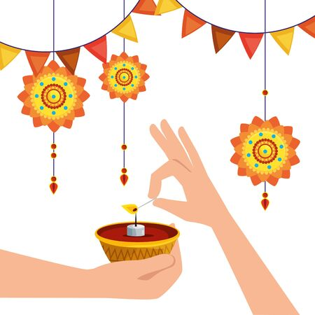 hands with candle and flowers hanging with party banner to hindu event, vector illustration