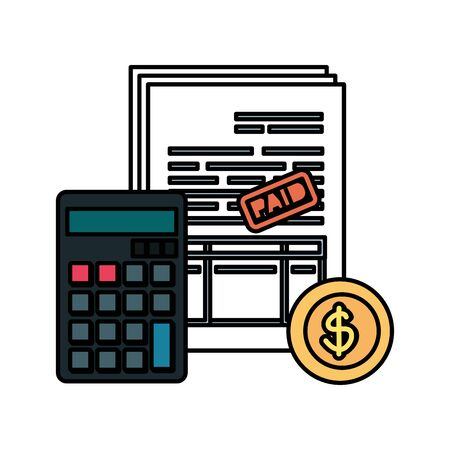 calculator math with taxes and coin vector illustration design Foto de archivo - 129824971