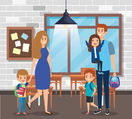 mother and father with boys and girl students with backpack in the classroom vector illustration Ilustracja