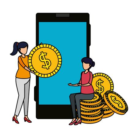 young women using smartphone and coins money vector illustration design