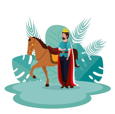 king with crown and cape with royal horse to tale character, vector illustration Ilustrace