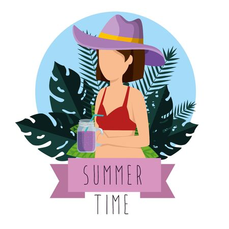 woman wearing swimsuit with hat and smoothie beverage to summer time vector illustration Illusztráció
