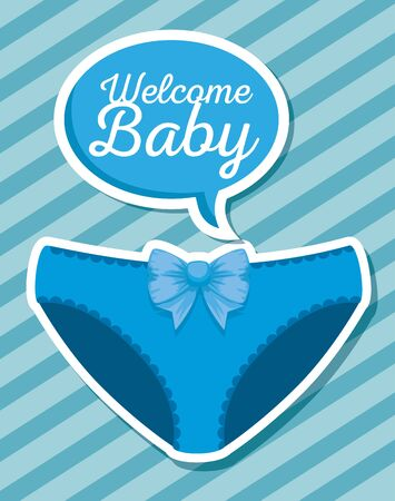 panty decoration with chat bubble message to baby shower vector illustration Иллюстрация