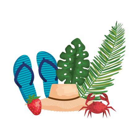 summer hat straw with palms and flip flops vector illustration design
