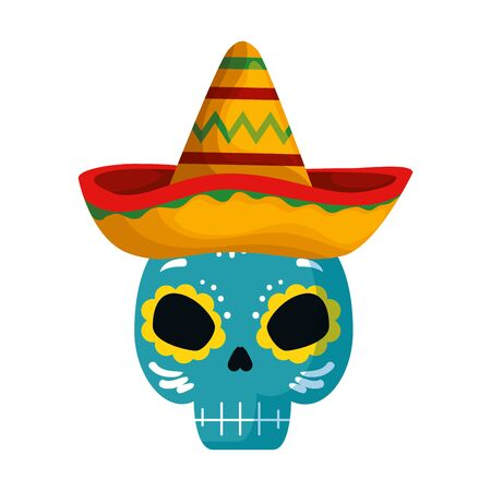 death mask with mexican hat vector illustration design