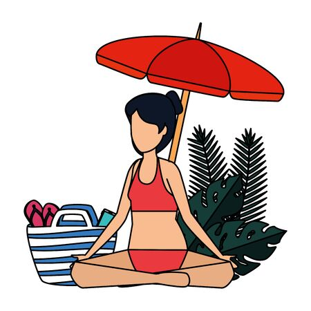 woman practicing yoga with umbrella and summer icons vector illustration design Illustration