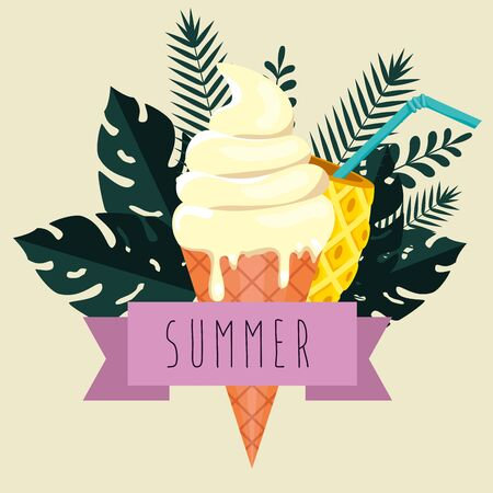 ice cream with pineapple beverage and tropical leaves plants to summer time vector illustration