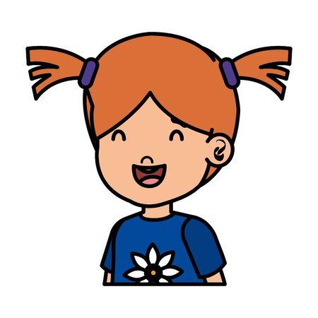 little girl kid character vector illustration design Standard-Bild - 129824994