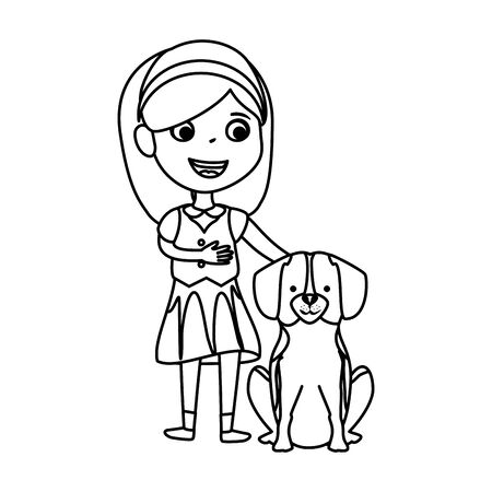 cute little girl with puppy vector illustration design